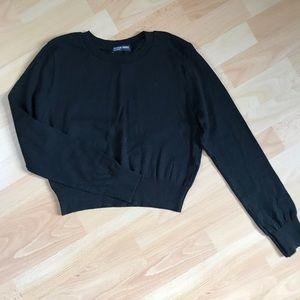Black Long Sleeved Crop Sweater